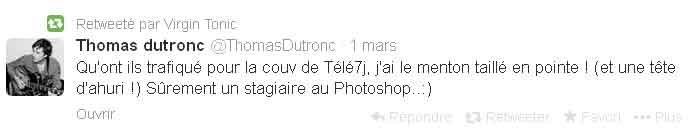 Thomas Dutronc pas du tout content de sa couverture de Télé 7 Jours