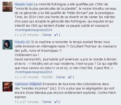 Messages sur la page FB Pekin Express de M6