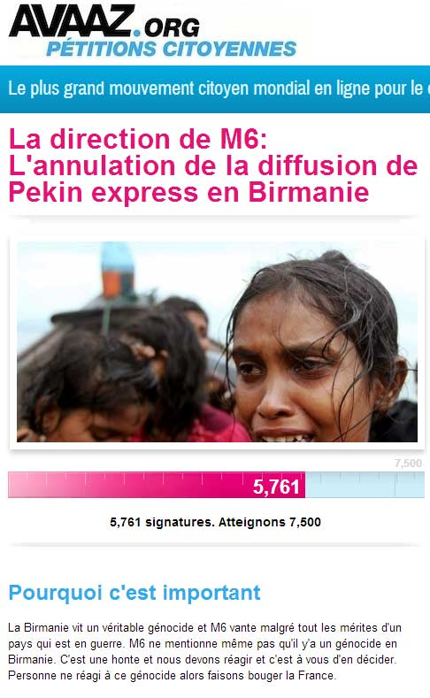 Pétition contre la diffusion de Pékin Express en Birmanie
