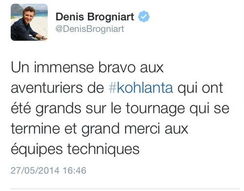 Tweet de fin de tournage de Denis Brognart