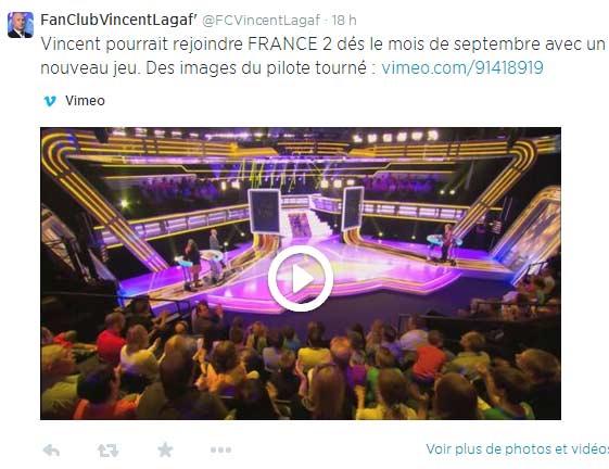 """Annonce du passage de Vincent Lagaf"""" sur France 2"""