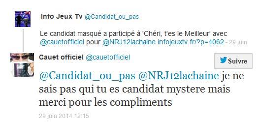 Tweet Cauet pour le candidat masqué