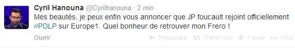 Cyril Hanouna confirme l'arrivè de Jean-Pierre Foucault sur Europe 1