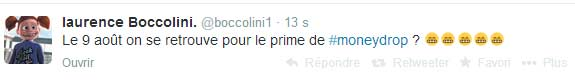 Laurence Boccolini annonce le prime de Money Drop sur Twitter