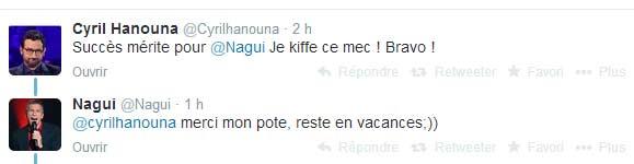 Echange entre Hanouna et Nagui sur Twitter