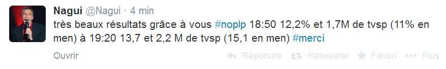 Nagui annonce les bonnes audiences de #Noplp sur Twitter