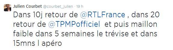 Julien Courbet annonce son retour sur son compte twitter