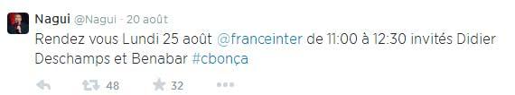 Nagui annonce sa rentrée radio sur Twitter