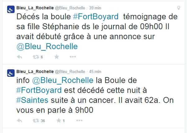 Annonce du DC sur le compte Twitter de France Bleu
