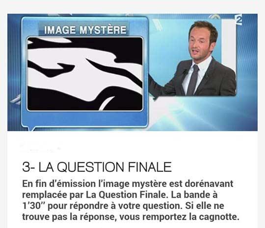L'image Mystère remplacé par la question finale