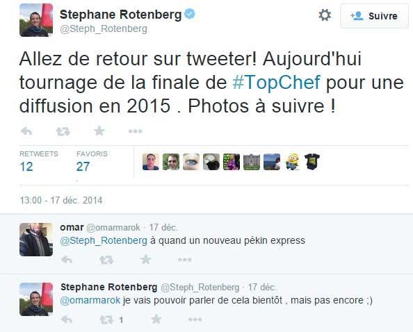 une réponse a un tweet de Stéphane Rotemberg, laisse présager un retour de Pékin Express