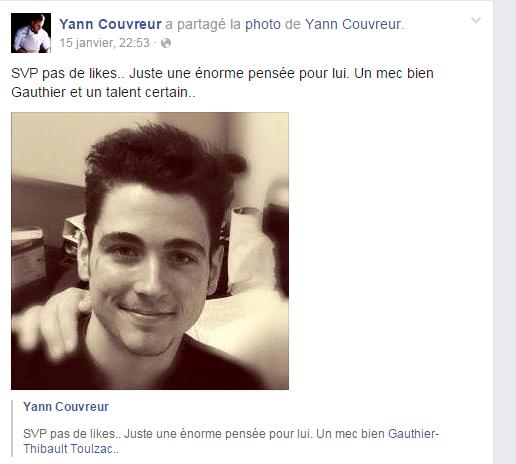 Message de Yann Couvreur sur sa page facebook.