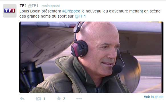 Tweet de TF1 qui confirme Louis Bodin a la présentation de Dropped