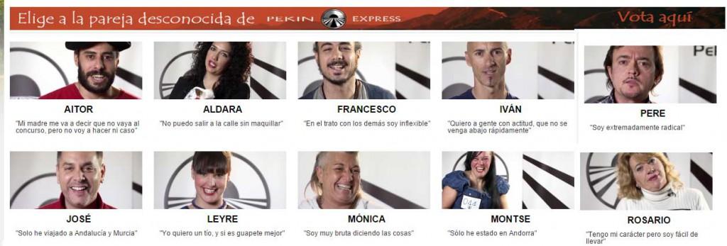 Candidats espagnols de Pékin Express soumis au vote du public