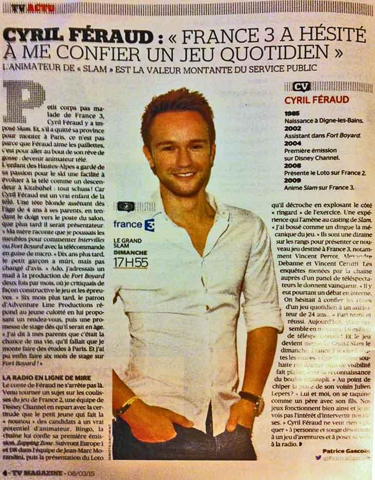 Article sur Cyril Féraud dans Tv-Magazine