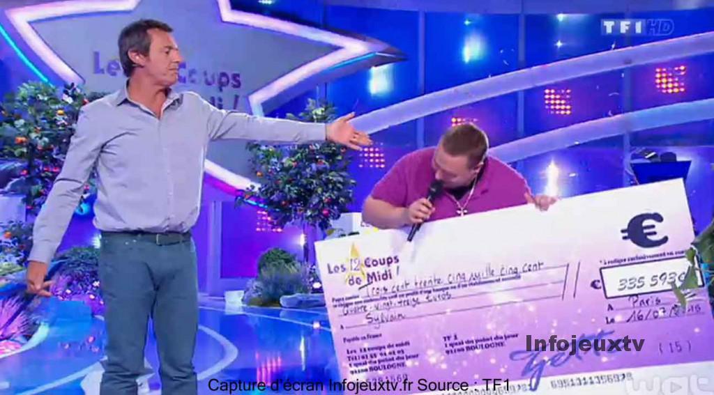 Sylvain reçoit le chèque de 335 593€