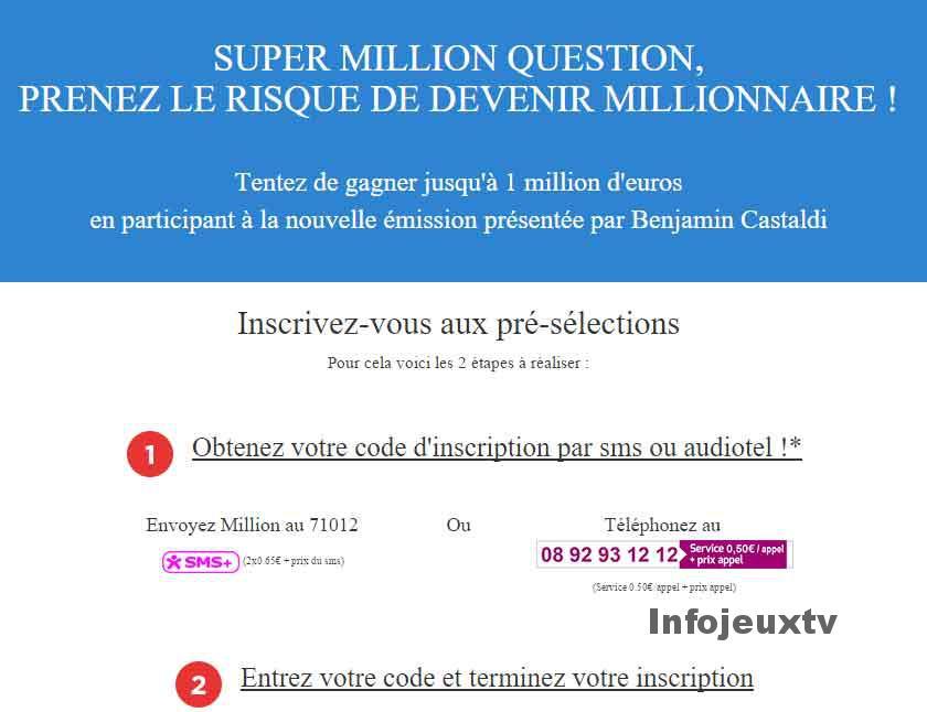 Inscription One Million Question