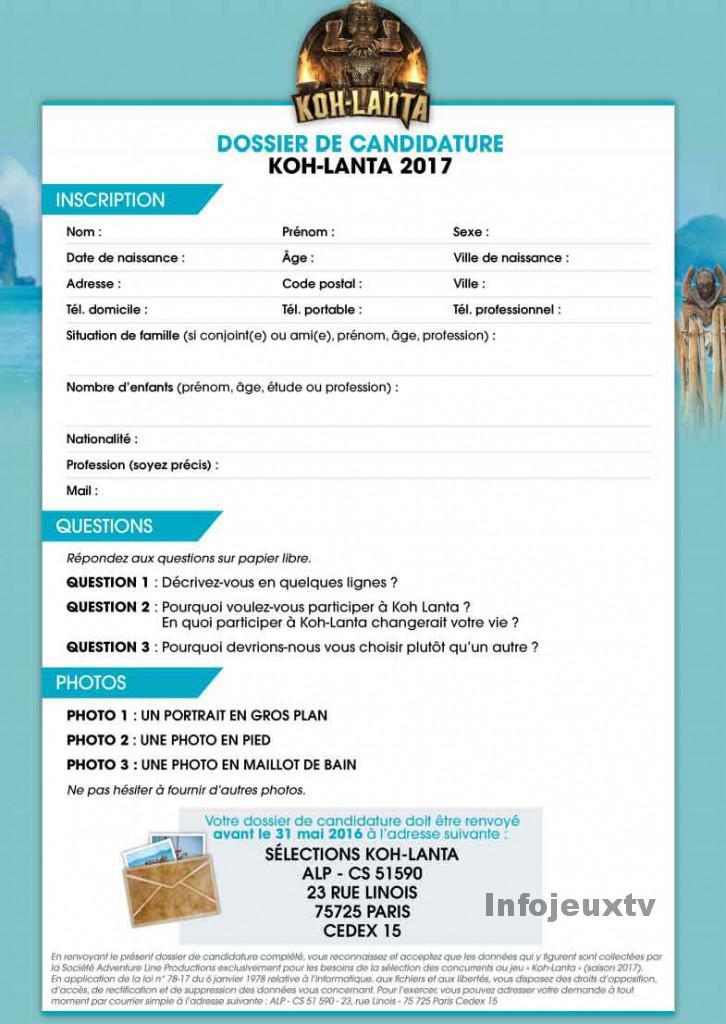Dossier de candidature de Koh Lanta